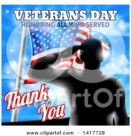 Clipart of a Black Silhouetted Solder Saluting over an American Flag and Sky, with Text - Royalty Free Vector Illustration by AtStockIllustration