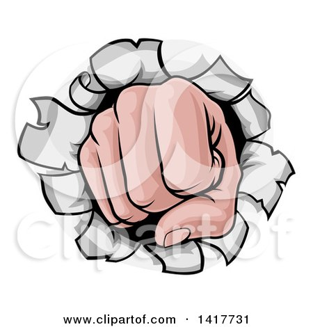 Clipart of a Cartoon Fist Punching a Hole Through a Wall - Royalty Free Vector Illustration by AtStockIllustration