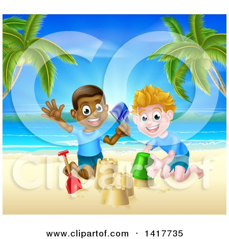 Clipart of a Happy White and Black Boys Playing and Making Sand Castles on a Tropical Beach - Royalty Free Vector Illustration by AtStockIllustration