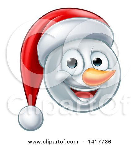 Clipart of a Happy Snowman Face Wearing a Christmas Santa Hat - Royalty Free Vector Illustration by AtStockIllustration