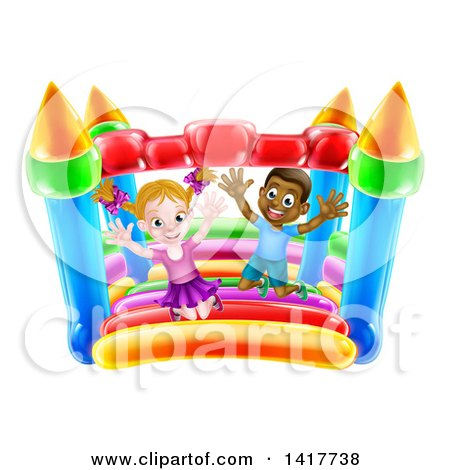 Clipart of a Cartoon Happy White Girl and Black Boy Jumping on a Bouncy House Castle - Royalty Free Vector Illustration by AtStockIllustration