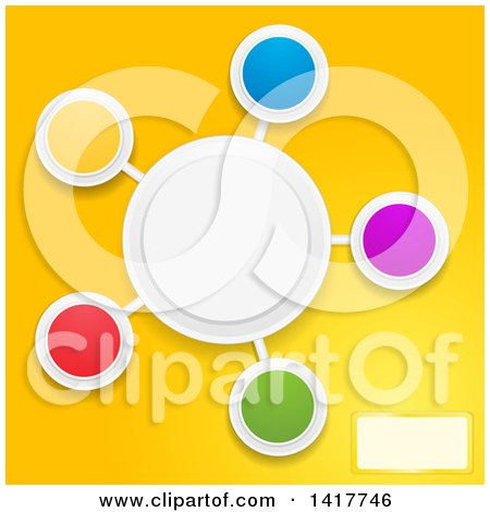 Clipart of a Design of Colorful Blank Circles on Yellow - Royalty Free Vector Illustration by elaineitalia