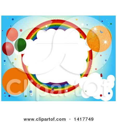 Clipart of a Party Invitation Design with a Disco Ball, Party Baloons, Clouds and Rainbow Circle - Royalty Free Vector Illustration by elaineitalia