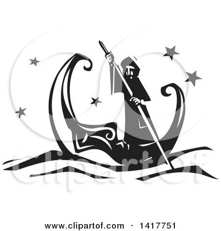 Clipart of a Black and White Woodcut Man Rowing in a Crescent Moon Canoe - Royalty Free Vector Illustration by xunantunich