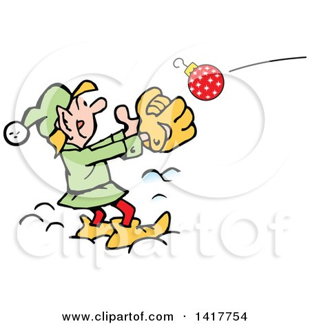 Clipart of a Cartoon Christmas Elf Catching an Ornament - Royalty Free Vector Illustration by Johnny Sajem
