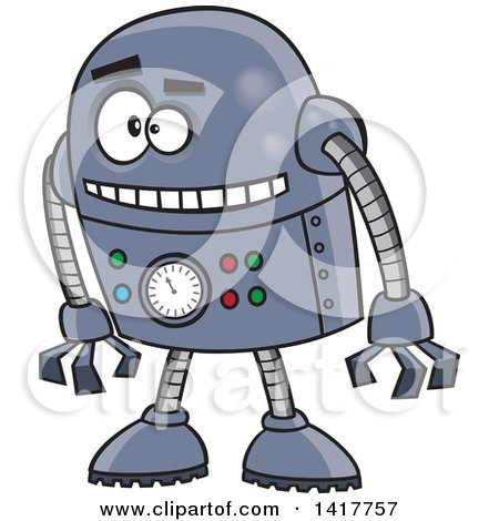 Clipart of a Cartoon Blue Robot Leaning Forward - Royalty Free Vector Illustration by toonaday
