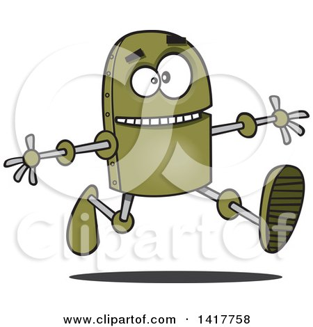 Clipart of a Cartoon Happy Green Robot Running with His Arms Open - Royalty Free Vector Illustration by toonaday