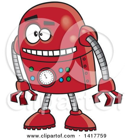 Clipart of a Cartoon Red Robot Leaning Forward - Royalty Free Vector Illustration by toonaday