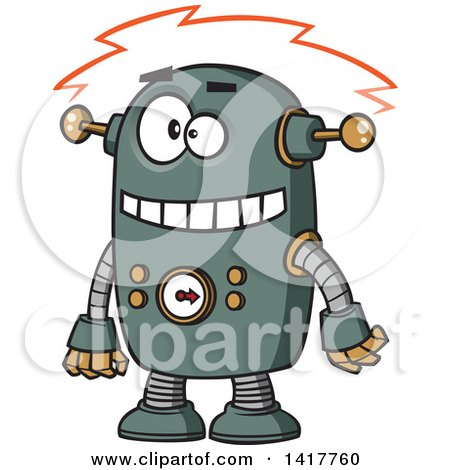 Clipart of a Cartoon Robot Experiencing a Short - Royalty Free Vector Illustration by toonaday