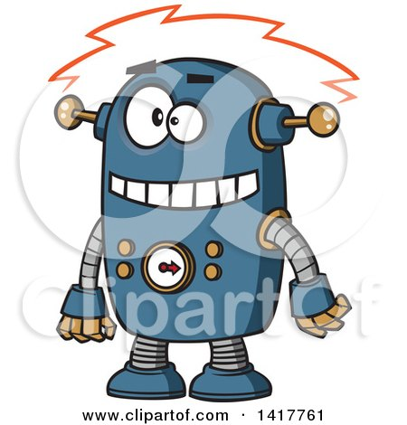 Clipart of a Cartoon Blue Robot Experiencing a Short - Royalty Free Vector Illustration by toonaday