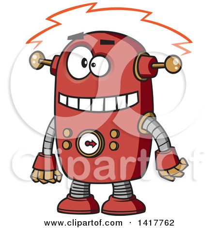 Clipart of a Cartoon Red Robot Experiencing a Short - Royalty Free Vector Illustration by toonaday