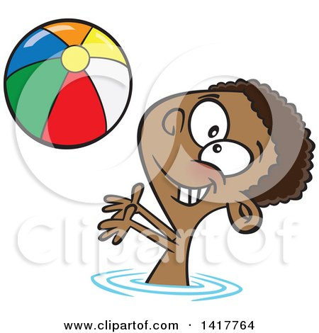 Clipart of a Cartoon African American Boy Playing with a Beach Ball in a Swimming Pool - Royalty Free Vector Illustration by toonaday