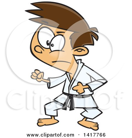 Clipart of a Cartoon Caucasian Karate Boy in a Fighting Stance - Royalty Free Vector Illustration by toonaday
