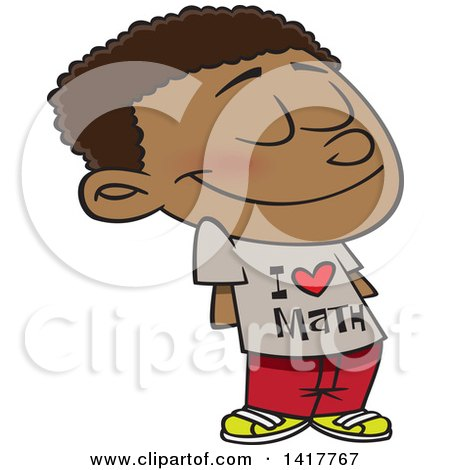 Clipart of a Cartoon African American School Boy Wearing an I Love Math Shirt - Royalty Free Vector Illustration by toonaday
