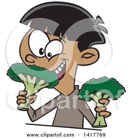 Clipart of a Cartoon Happy Boy Eating Broccoli - Royalty Free Vector Illustration by toonaday