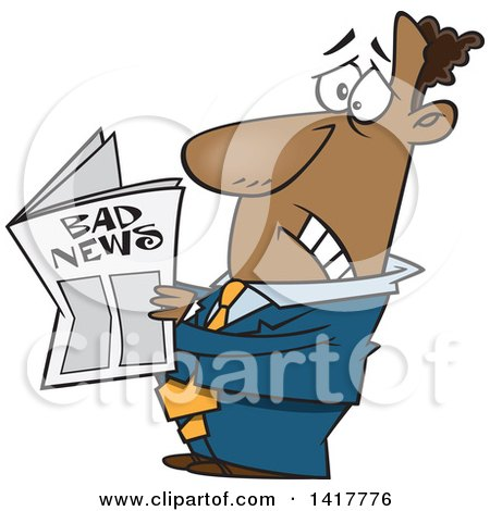 Clipart of a Cartoon African American Businessman Reading Bad News - Royalty Free Vector Illustration by toonaday