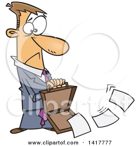 Clipart of a Cartoon Caucasian Businessman Dropping Documents from His Briefcase - Royalty Free Vector Illustration by toonaday
