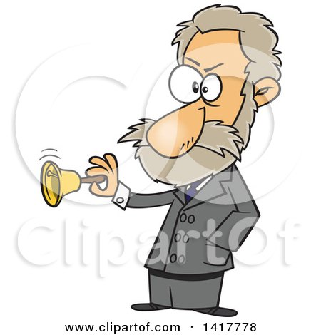 Clipart of a Cartoon Physiologist, Ivan Pavlov, Ringing a Bell - Royalty Free Vector Illustration by Ron Leishman