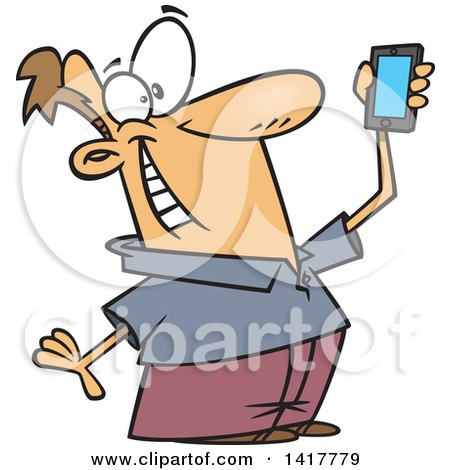 Clipart of a Cartoon Caucasian Man Holding up a Smart Phone and Taking a Selfie - Royalty Free Vector Illustration by toonaday