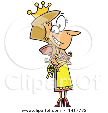 Clipart of a Cartoon Caucasian Woman Wearing a Crown and Holding a Plunger - Royalty Free Vector Illustration by toonaday