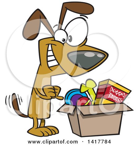 Clipart of a Cartoon Dog Wagging His Tail and Looking in a Surprise Box - Royalty Free Vector Illustration by toonaday