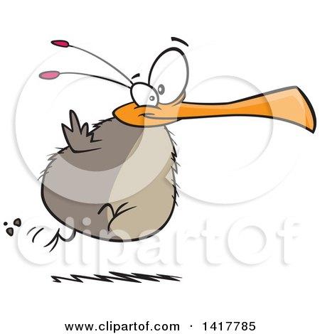 Clipart of a Cartoon Chubby Flightless Bird Running - Royalty Free Vector Illustration by toonaday
