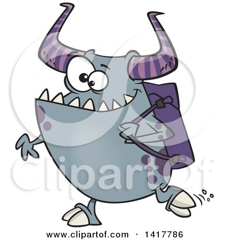 Clipart of a Cartoon Happy Monster Going Back to School - Royalty Free Vector Illustration by toonaday