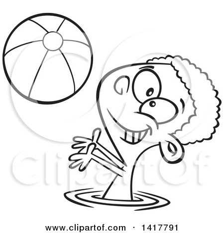 Clipart of a Cartoon Black and White African American Boy Playing with a Beach Ball in a Swimming Pool - Royalty Free Vector Illustration by toonaday