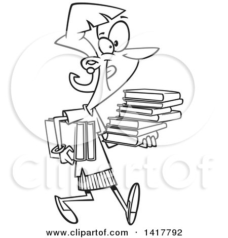 Clipart of a Cartoon Black and White Woman Carrying Books - Royalty Free Vector Illustration by toonaday