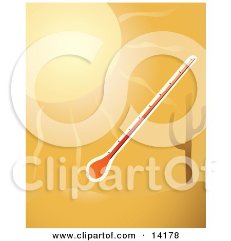 A Thermometer in the Hot Sunshine by a Cactus in the Desert Clipart Illustration by Rasmussen Images