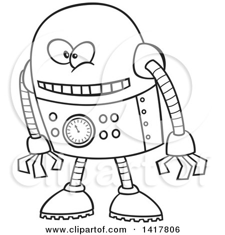 Clipart of a Cartoon Black and White Robot Leaning Forward - Royalty Free Vector Illustration by toonaday
