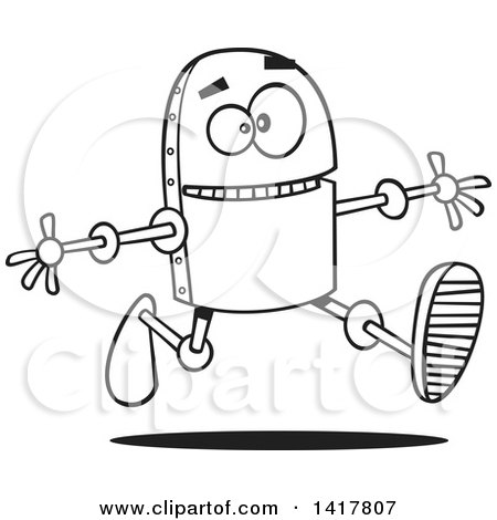 Clipart of a Cartoon Black and White Happy Robot Running with His Arms Open - Royalty Free Vector Illustration by toonaday