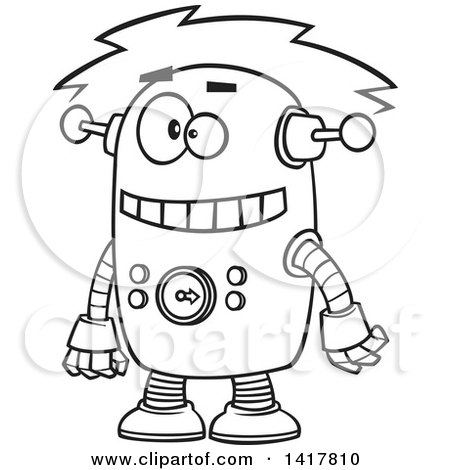 Clipart of a Cartoon Black and White Robot Experiencing a Short - Royalty Free Vector Illustration by toonaday