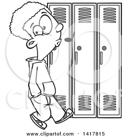 Cartoon Black and White African American School Boy Whistling and Sneaking Around Lockers Posters, Art Prints