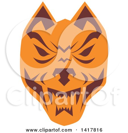 Clipart of a Retro Brown and Orange Wolf Head - Royalty Free Vector Illustration by patrimonio