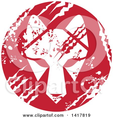 Clipart of a Retro White Wolf Head in a Red Scratched Grungy Circle - Royalty Free Vector Illustration by patrimonio