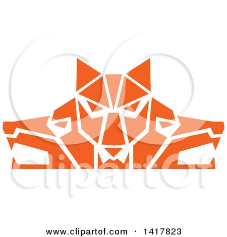 Clipart of Retro Orange Wolf Heads Facing Front and to the Sides - Royalty Free Vector Illustration by patrimonio