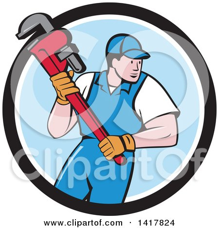 Retro Cartoon White Male Plumber or Handy Man Running with a Monkey Wrench in a Black White and Blue Circle Posters, Art Prints