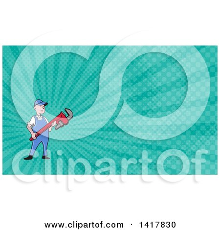 Retro Cartoon White Male Plumber or Handy Man Holding a Monkey Wrench and Turquoise Rays Background or Business Card Design Posters, Art Prints