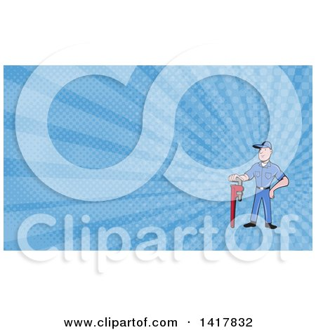 Retro Cartoon White Male Plumber or Handy Man with a Monkey Wrench and Blue Rays Background or Business Card Design Posters, Art Prints