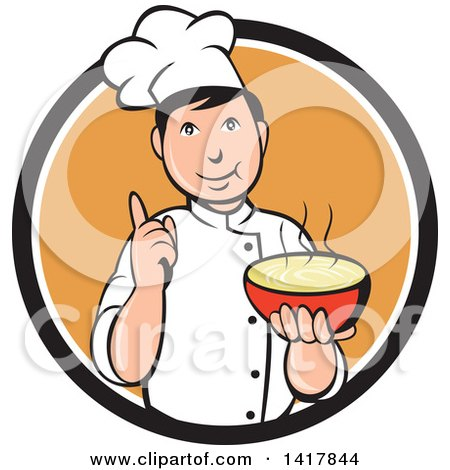 Clipart of a Retro Chef Holding up a Finger and a Bowl of Hot Noodle Soup - Royalty Free Vector Illustration by patrimonio