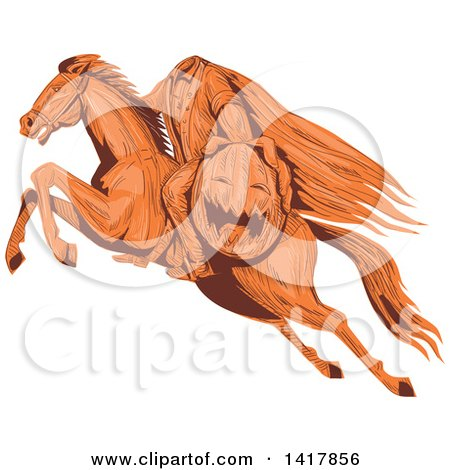 Clipart of a Sketched Horseback Headless Horseman Holding out a Jackolantern - Royalty Free Vector Illustration by patrimonio