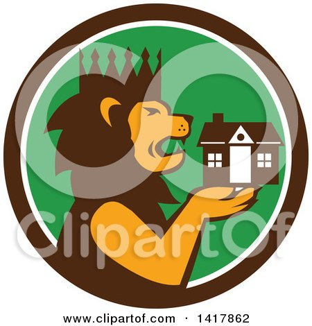 Clipart of a Retro Crowned King Lion Holding a House in a Brown White and Green Circle - Royalty Free Vector Illustration by patrimonio