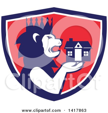 Clipart of a Retro Crowned King Lion Holding a House in a Blue White and Red Crest - Royalty Free Vector Illustration by patrimonio