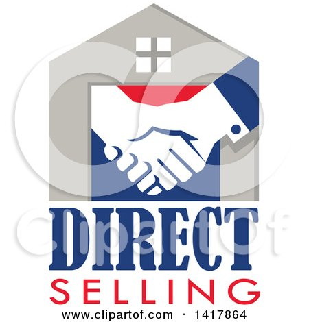 Retro House with Shaking Hands and Direct Selling Text Posters, Art Prints