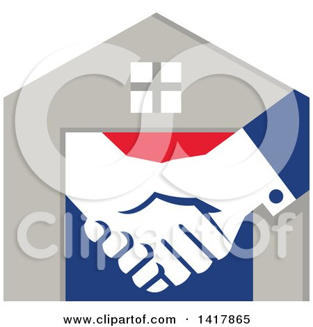 Retro House with Shaking Hands Posters, Art Prints