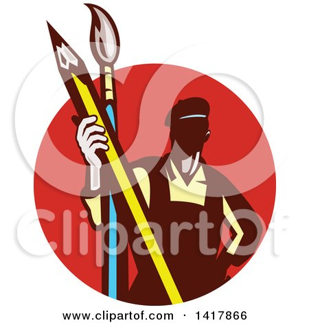Clipart of a Retro Male Artist Holding a Giant Pencil and Paintbrush in a Red Circle - Royalty Free Vector Illustration by patrimonio
