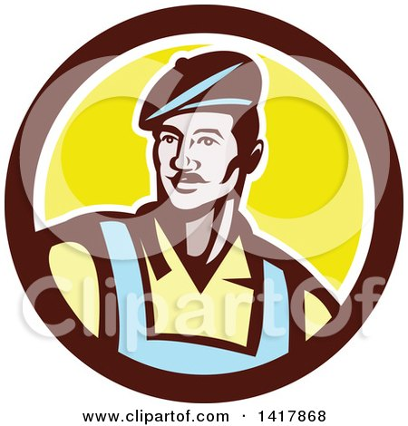 Clipart of a Retro Male French Artist Wearing a Beret in a Brown White and Yellow Circle - Royalty Free Vector Illustration by patrimonio