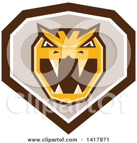 Clipart of a Retro Horned Viper Snake Head in a Brown White and Taupe Crest - Royalty Free Vector Illustration by patrimonio