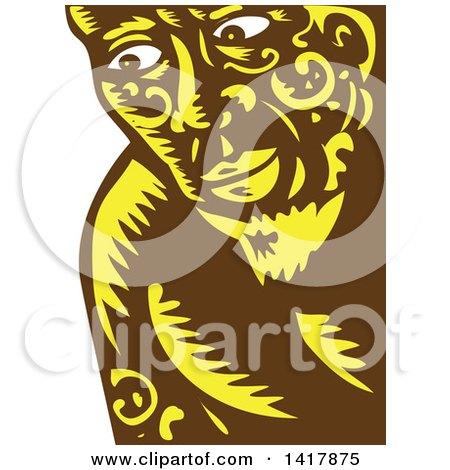 Clipart of a Retro Woodcut Brown White and Yellow Samoan God, Tagaloa, Peeking - Royalty Free Vector Illustration by patrimonio